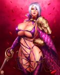 1girl arm_behind_back bangs big_breasts breasts choker cleavage clothed cosplay crossover fingerless_gloves fiora_laurent garter_straps gloves highres holding holding_weapon hot huge_breasts isabella_valentine isabella_valentine_(cosplay) ivy_valentine jewelry large_breasts league_of_legends looking_at_viewer pauldrons rapier revealing_clothes sexy sideboob single_gauntlet solo soul_calibur soulcalibur_iv svoidist sword thigh_strap underboob weapon
