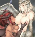 2girls anthro big_breasts breast_grab breast_suck breasts elder_dragon hair monster_hunter multiple_girls red_eyes redhead sucking white_hair wings
