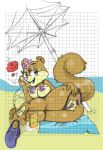 1girl anus ass beach big_breasts black_eyes furry heart hot looking_at_viewer nipples ocean pussy sandy_cheeks sexy smile spongebob_squarepants tail umbrella