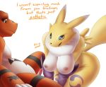 1_boy 1_girl 1boy 1girl alpha_channel anthro awkward breasts canine chode digimon domination duo embarrassed female female_domination female_renamon fox furry guilmon humiliation male mammal nipples penis renamon scalie shy simple_background small_penis small_penis_humiliation text uncut unknown_artist