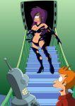 bender_bending_rodriguez boots breasts desired earing futurama philip_j._fry semi_nude sex_goddess spider-matt stairs stilettos turanga_leela