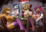1girl 2016 anthro areola armpits big_breasts bittenhard breasts canine card card_game cards clothing dog erect_nipples furry gaming group huge_breasts mammal nipples playing_card poker poker_table strip_poker underwear undressing