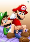 anal bed blush bottomless brothers cum cum_in_ass incest luigi mario penis pillow rear_deliveries reverse_cowgirl super_mario_bros. testicles yaoi