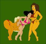 3girls amy_wong big_ass big_breasts breasts carmen_electra futurama multiple_girls pussylicking pyramid_(artist) swim_suit the_simpsons titania_(the_simpsons) yellow_skin yuri