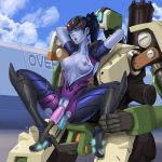 1girl anal_penetration bastion_(overwatch) blue_skin boots breasts cloud dildo double_penetration hair jumpsuit nipples overwatch ponytail robot sky vaginal_penetration widowmaker