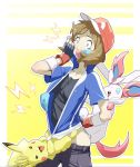 blue_eyes brown_hair cap cosplay covered_mouth forced gloves hat materclaws pikachu pokemon pokemon_(anime) pokemon_(creature) pokemon_xy pokemon_xyz satoshi_(pokemon) satoshi_(pokemon)_(cosplay) scared serena serena_(pokemon) sylveon thunder undressing unzip unzipping
