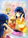 2girls bikini blue_eyes blue_hair buneary dawn female frilled_bikini frills hair hand_in_hair hikari_(pokemon) human indoors light_brown_hair locker locker_room long_hair mirror multiple_girls navel pokemon pokemon_diamond_and_pearl pokemon_xy pony ponytail serena serena_(pokemon) smile standing swimsuit yellow_bikini zin_(mame_denkyu)