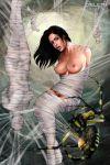 1_girl breasts brunette_hair dieleth_(artist) nipples pubic_hair spider