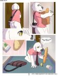 1girl all_fours anthro ass black_nose bottomless canine claws clothed clothing comic digital_media_(artwork) dog dogs_play door ear_piercing english_text family_guy fur furry girly groceries jasper_(family_guy) male mammal neck_tie piercing pink_clothing seth-iova shirt text white_fur yellow_eyes