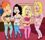 4girls american_dad family_guy francine_smith frost969 hayley_smith lois_griffin meg_griffin stockings thighs