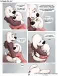 ! anthro ass black_nose blush bottomless brian_griffin brown_eyes butt_grab canine closed_eyes clothed clothing comic dialogue digital_media_(artwork) dog dogs_play ear_piercing english_text eye_contact family_guy fur furry hand_on_butt high_res hoodie hugging imminent_sex incest jasper_(family_guy) male male/male mammal piercing seth-iova suggestive text white_fur