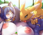1girl 2girls anthro blue_hair breasts digimon furry hair jewelry krystal lysergide markings multiple_girls necklace nintendo nipples orgasm pov pussy renamon sex short_hair star_fox yuri