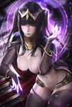 1girl aura big_breasts black_hair books breasts crown fire_emblem fire_emblem_awakening hot jewelry long_hair magic pale_skin partially_clothed pussy sakimichan tagme tharja