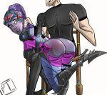 big_ass otk over_the_knee overwatch paddletone paddletone(artist) purple_skin spank spanked spanking