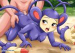 1girl all_fours ambipom ass black_eyes blush breasts from_behind furry nipples palcomix pokemon pokepornlive sex tail