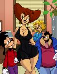 1girl aeolus anthro big_breasts biting_lip breasts canine cleavage clothed clothing disney frown furry goof_troop group highres male mammal mature_female max_goof ms._pennypacker naughty_face peg_pete pj tongue tongue_out