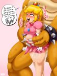 ahegao big_breasts big_penis bowser breasts cum dildo jlullaby koopa penis princess_peach scalie super_mario_bros. torn_clothes