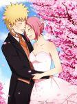 big_breasts breasts ichan-desu ichan-desu_(artist) naruto naruto_uzumaki sakura_haruno wedding wedding_dress