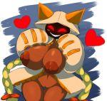 1girl animal_humanoid big_breasts blazblue blush breasts cat_humanoid dark_skin elfdrago feline grin heart hood huge_breasts humanoid mammal nipples pussy red_eyes sharp_teeth taokaka teeth thigh_gap video_games