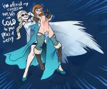 anna big_breasts bondage breasts carrying dildo elsa from_behind frozen_(movie) ice incest sisters sparrow strap-on text torn_clothes yuri