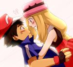 1boy 1girl art ash_ketchum babe black_hair blue_eyes blush brown_eyes couple hat hot hugging incipient_kiss light_brown_hair long_hair love nintendo open_mouth patori-san patori-san_(artist) pokemon pokemon_(anime) pokemon_(game) pokemon_xy satoshi_(pokemon) serena_(pokemon) sexy short_hair tagme upper_body