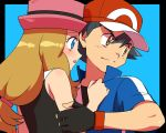 1boy 1girl :o amada amada_(artist) art ash_ketchum babe black_hair blue_eyes blush brown_eyes couple hat hot hugging light_brown_hair long_hair love nintendo pokemon pokemon_(anime) pokemon_(game) pokemon_xy satoshi_(pokemon) serena_(pokemon) sexy short_hair tagme upper_body
