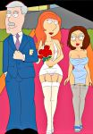 alternate_hair_style alternate_hairstyle big_breasts cameltoe dress edit family_guy high_heels lois_griffin meg_griffin nipples panties stockings