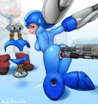 1girl anal anal_insertion anal_penetration android armor ass blue_eyes blush bodysuit bondage breasts capcom electricity female genderswap helmet machine megaman megaman_(character) neocoill object_insertion recharging restrained robot rockman rockman_(character) rockman_(classic) skin_tight solo_focus sweat thomas_light vaginal_insertion vaginal_penetration