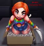 androgynous blue_eyes breasts bulge child's_play chucky femboy girly knife male mutantproject red_hair solo trap weapon