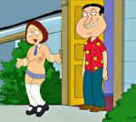 biting_lip breasts brunette collar cuffs door_step family_guy glen_quagmire lipstick meg_griffin micro_skirt mini_skirt naval nipples semi_nude shoes socks stockings thigh_high_stockings tie