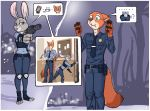 1girl anthro ass badge bulge canine clothing cup disney fox furry green_eyes gun high_res judy_hopps lagomorph luraiokun male mammal neck_tie nick_wilde pictographics police_uniform rabbit ranged_weapon tissues uniform weapon zootopia