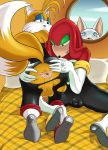 "anthro anus bulge clothed clothing crossdressing furry glazed_(artist) knuckles_the_echidna male miles_""tails""_prower penis presenting presenting_anus rouge_the_bat sega testicles"