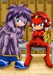 2_girls ass aurora_the_echidna blue_eyes breasts cheerleader furry gala-na hot long_hair looking_at_viewer mobius_unleashed nipples nude palcomix purple_eyes purple_hair pussy red_hair sexy smile sonic spread_legs tail