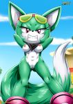 1girl animal_ears breasts furry green_hair looking_at_viewer mobius_unleashed nipples nude palcomix pink_eyes pussy short_hair smile sonar_the_fennec sonic tail