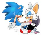 1girl anthro bat blue_eyes blush breasts clothing cum cum_in_mouth cum_inside cum_on_face duo furry hedgehog male male/female mammal penis rouge_the_bat sega skinbark sonic_the_hedgehog