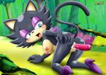 1girl ass blue_eyes blush breasts cat_ears cute dildo furry hot looking_back mobius_unleashed nipples palcomix pussy sasha_cat sexy sonic tail
