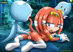 1girl ass blue_eyes blush breasts furry long_hair looking_at_viewer mobius_unleashed nude orange_hair palcomix pussy sonic tail tikal_the_echidna