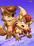 1boy 1girl animal_ears bent_over blue_eyes blush breasts brown_hair from_behind furry long_hair mobius_unleashed nipples open_mouth palcomix rosemary_prower sex short_hair smile sonic tail