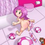ass big_ass big_breasts breasts lentendoodle nipples nude super_mario_bros. toadette undressing