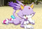 1girl ass blaze_the_cat blush breasts cat_ears dildo furry gloves looking_at_viewer mobius_unleashed nipples palcomix sonic tail yellow_eyes