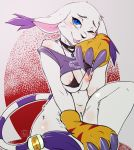 1girl 1girl 2016 anthro areola avante92 blue_eyes breasts cat claws clothed clothing digimon feline fur furry gatomon high_res looking_at_viewer mammal nipples one_eye_closed tongue tongue_out white_fur wink