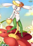 1girl blue_eyes cute flabebe flower nude palcomix pokemon pokepornlive pussy sky small_breasts