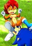 1boy 1girl anal_penetration anus boots breasts brown_hair closed_eyes furry gloves green_eyes mobius_unleashed nipples palcomix penis pussy sally_acorn sex short_hair sonic sonic_the_hedgehog