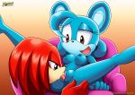 1boy 1girl animal_ears breasts brown_eyes couch furry hot knuckles_the_echidna licking long_hair mobius_unleashed nipples palcomix purple_eyes pussy red_hair relic_the_pika sexy smile sonic spread_legs tongue