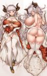 1girl alicia_(granblue_fantasy) ass big_breasts breasts cation cute demon_girl granblue_fantasy hair horns long_hair looking_at_viewer looking_back nipples pointed_ears pussy red_eyes smile underwear white_hair