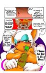"""<3 1girl age_difference anthro bat big_breasts blue_eyes blush breasts canine comic condom cub dialogue digital_media_(artwork) duo english_text erection fox furry hair holding_condom holding_object huge_breasts humanoid_penis male male/female mammal michiyoshi miles_""""tails""""_prower nude orange_hair penis rouge_the_bat saggy_breasts sega smile text wearing_condom white_hair wings"""