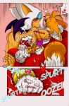 """1girl age_difference anthro ass bat big_breasts blue_eyes blush breasts bukkake canine comic cub cum cumshot dialogue digital_media_(artwork) drooling duo english_text erection fox furry hair huge_breasts humanoid_penis kissing male male/female mammal messy michiyoshi miles_""""tails""""_prower nude orange_hair orgasm penis rouge_the_bat saggy_breasts saliva sega smile snowball text white_hair wings"""