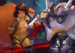 2016 anthro breasts clothing doll duo feline furry hair iskra_(artist) jacket lying machine mammal nipples one_eye_closed overwatch pants red_hair rodent smile squirrel straps tracer_(overwatch) video_games