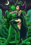 ass big_ass big_breasts black_hair breasts corruption dark_persona dominatrix glowing_eyes green_eyes green_hair green_skin hitori09_(artist) mind_control monster nipples nude paulina plant plant_girl pussy samantha_manson tanoshyht_(artist) tentacle torn_clothes