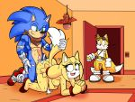 "1girl anthro big_breasts breasts canine dreamcastzx1 escopeto fox furry hedgehog huge_penis male mammal miles_""tails""_prower muscular penis sega sonic_boom sonic_the_hedgehog zooey_the_fox"